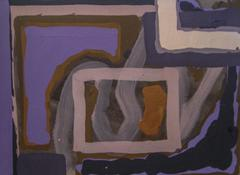Untitled 246 (1960s Indigo and Violet Abstract Painting on Paper)