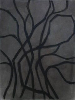 Untitled No. 32 (Modern Black & Grey Bold Line Abstract Drawing in Black Frame)