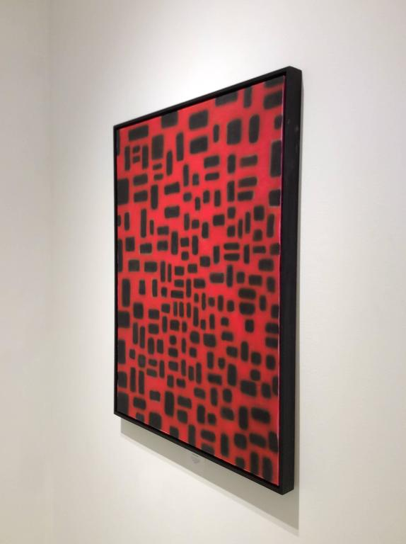 Red Convergence (Modern, Abstract Geometric Red & Black Painting in Black Frame For Sale 3