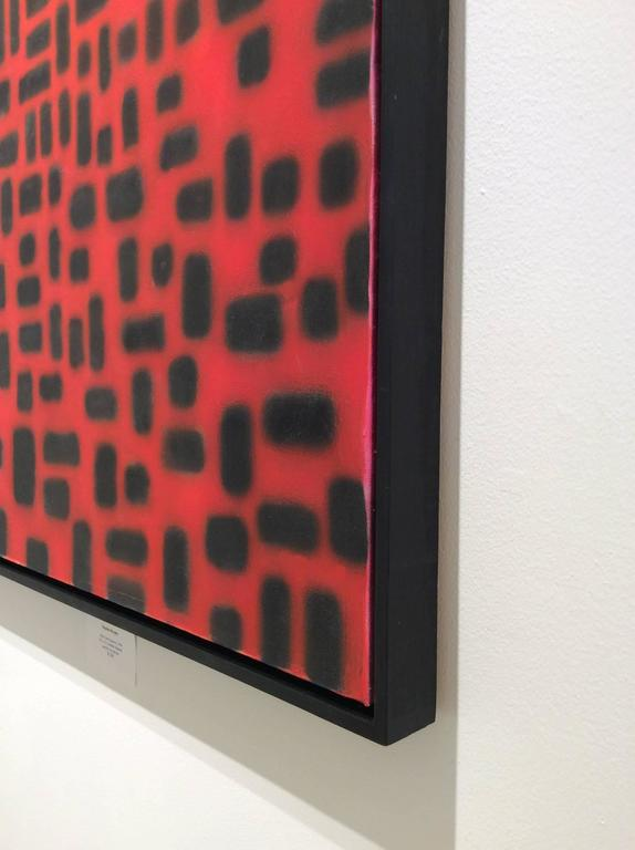 Red Convergence (Modern, Abstract Geometric Red & Black Painting in Black Frame For Sale 6