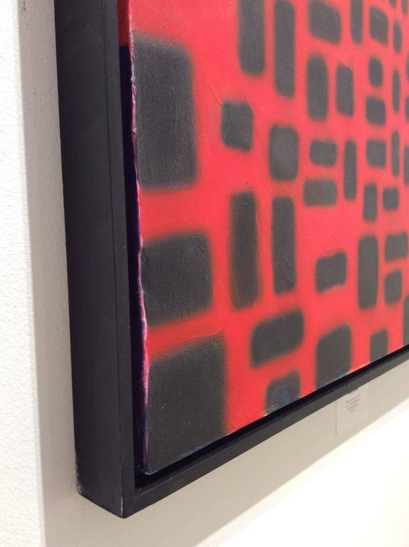 Red Convergence (Modern, Abstract Geometric Red & Black Painting in Black Frame For Sale 5