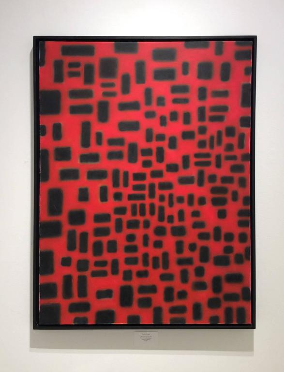 Red Convergence (Modern, Abstract Geometric Red & Black Painting in Black Frame For Sale 1
