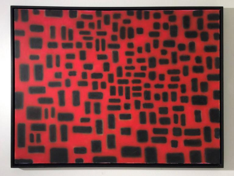 Red Convergence (Modern, Abstract Geometric Red & Black Painting in Black Frame For Sale 2