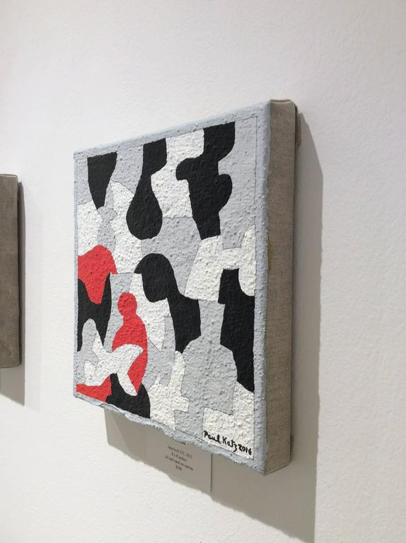 Interlock #35 (Graphic, Abstract Red, Black, White & Grey Painting on Canvas) - Gray Abstract Painting by Paul Katz