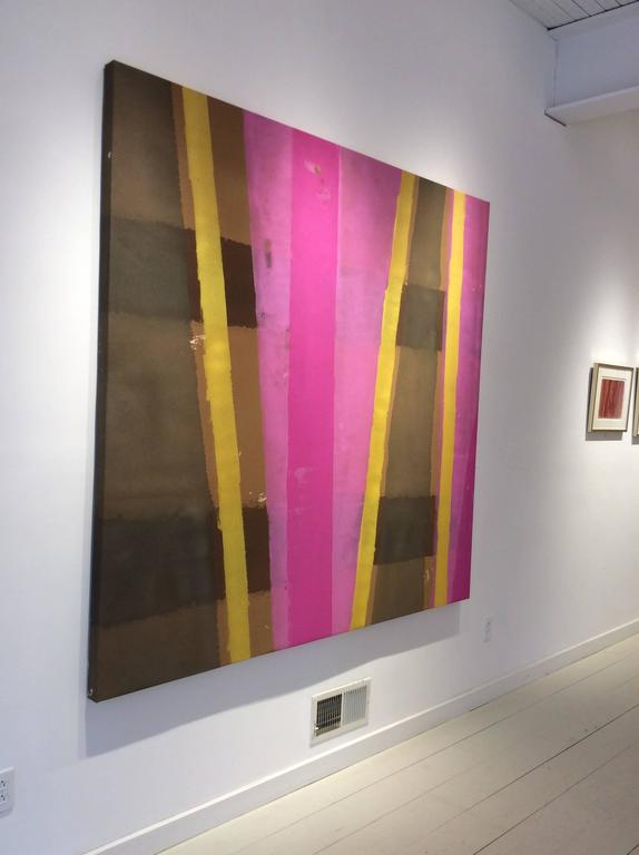 Edward Avedisian: 038 (Abstract Colorfield Painting; Pink, Yellow) c, 1969 For Sale 1