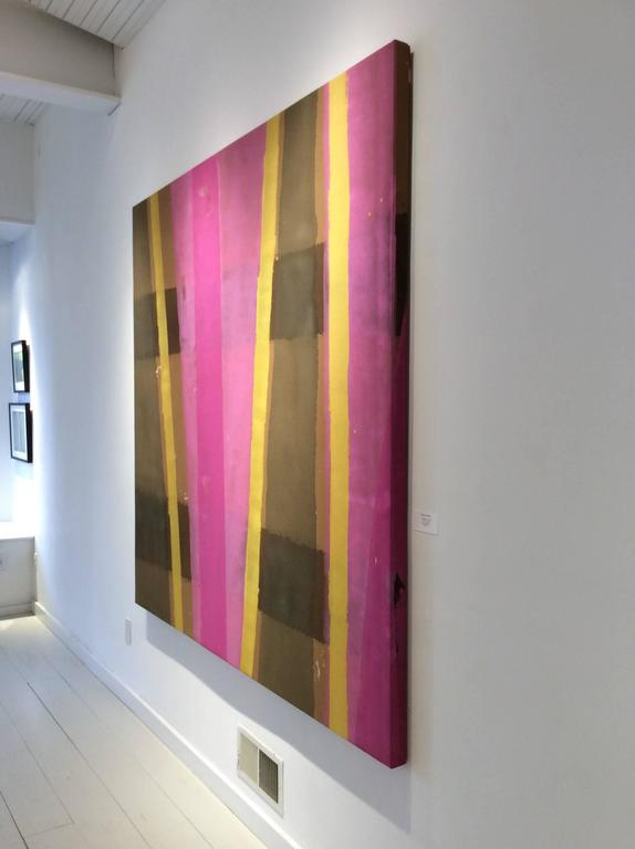 Edward Avedisian: 038 (Abstract Colorfield Painting with veils of Pink, Brown & Yellow) c. 1969 76 x 72 inches, acrylic on stretched canvas  Armenian-American artist, Avedisian was best known for his work made in New York City during the 1960s:
