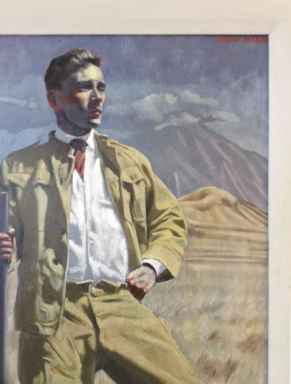 Figurative oil painting on canvas by Mark Beard aka. Bruce Sargeant oil on canvas 48 x 24 inches unframed, 52 x 28 x 1 inches in white painted wood frame  This vertical, contemporary figurative painting of a single male safari hunter  was made by