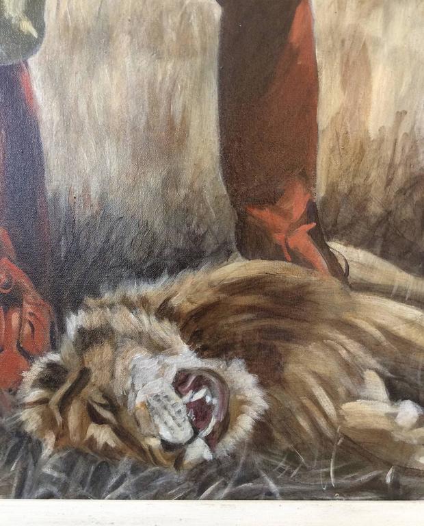 Lion (Figurative Oil Painting of Safari Hunter in African Landscape, Framed) For Sale 2