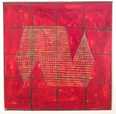 7A (Modern, Abstract Red & Yellow Grid Painting on Vellum in Square White Frame)