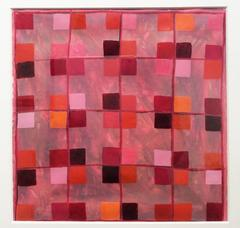 25A: Modern, Abstract Red, Pink, Orange & Ox Blood Grid Painting in White Frame