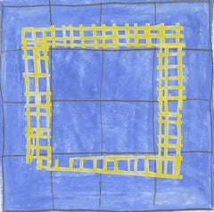 16A (Modern, Abstract Blue & Yellow Grid Patterned Painting in White Frame)