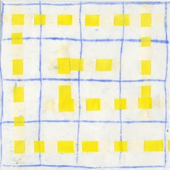 16B: Modern, Abstract Blue, White, & Yellow Grid Pattern Painting in White Frame