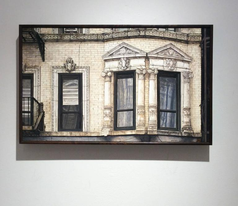71 Clinton (Photo-Realist Oil Painting of NYC Light Beige Brick Building) For Sale 1