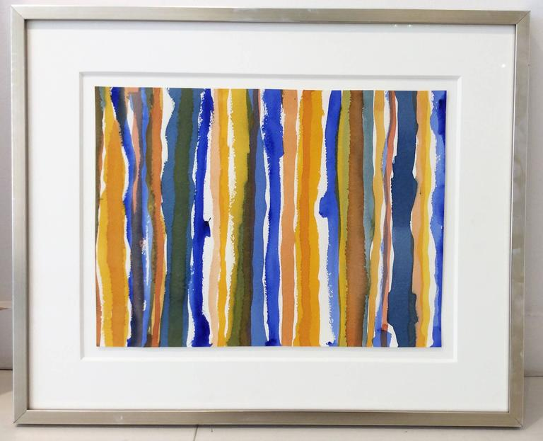 Untitled 012 (Framed Blue and Yellow Striped Watercolor Painting c. 1960) - Art by Edward Avedisian