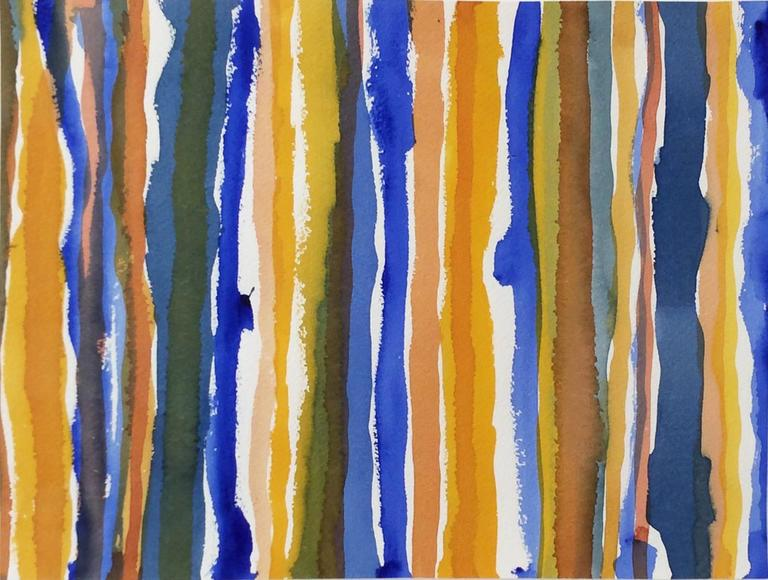 Edward Avedisian Abstract Drawing - Untitled 012 (Framed Blue and Yellow Striped Watercolor Painting c. 1960)
