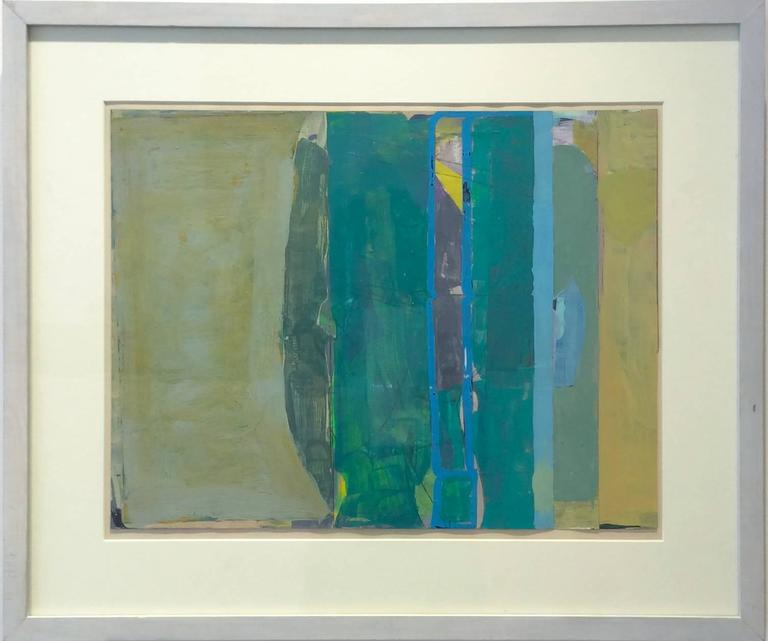 Climate (Abstract Painting on Paper in Teal and Citron with Grey Wood Frame) For Sale 1