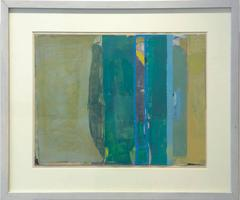 Climate (Abstract Painting on Paper in Teal and Citron with Grey Wood Frame)