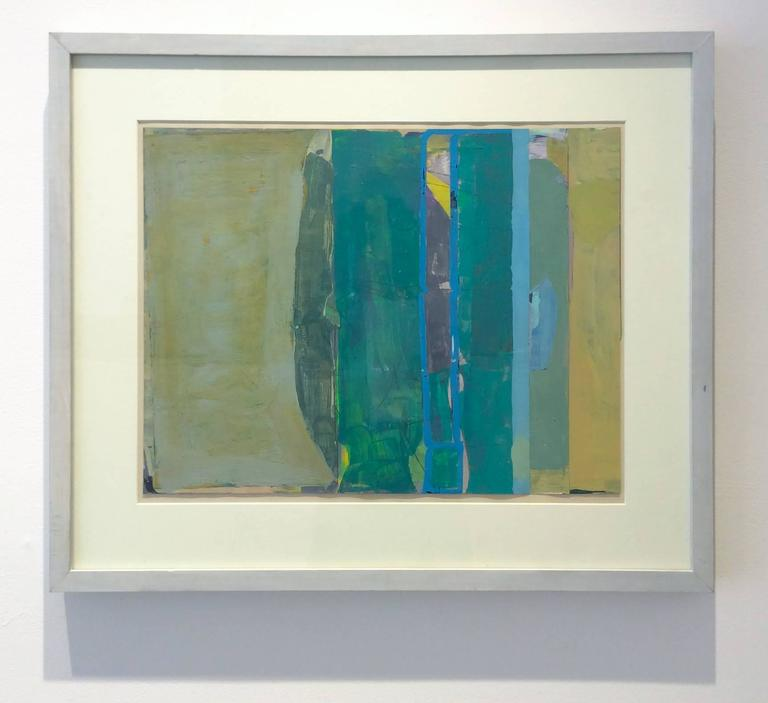 Climate (Abstract Painting on Paper in Teal and Citron with Grey Wood Frame) For Sale 2