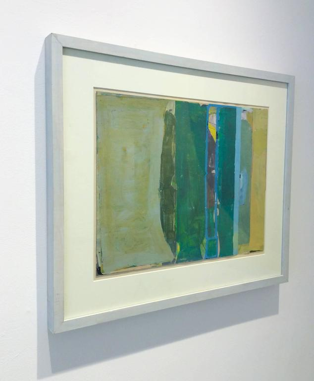 Climate (Abstract Painting on Paper in Teal and Citron with Grey Wood Frame) For Sale 3