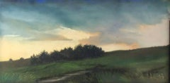 Light Lifting (Pastel Landscape Drawing of Green Country Field at Sunset)
