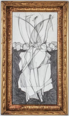 Balla Duchamps #8 (Modern, Cubist Style Abstract Drawing in Vintage Gold frame)