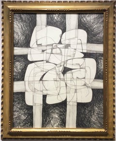 Sutherland Project #30 (Modern, Cubist Style Graphite Drawing in Vintage Frame)