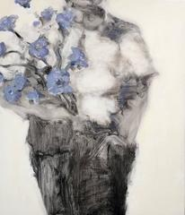 Bearing Flowers #2 (Contemporary, Gestural Male Figure with Purple Bouquet)
