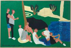 Central Park (Modern, Naive Style Figurative Painting of Figures on Green Grass)