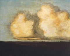 Low Cumulus (Modern Landscape Painting of Bright Yellow Clouds in Blue Sky)