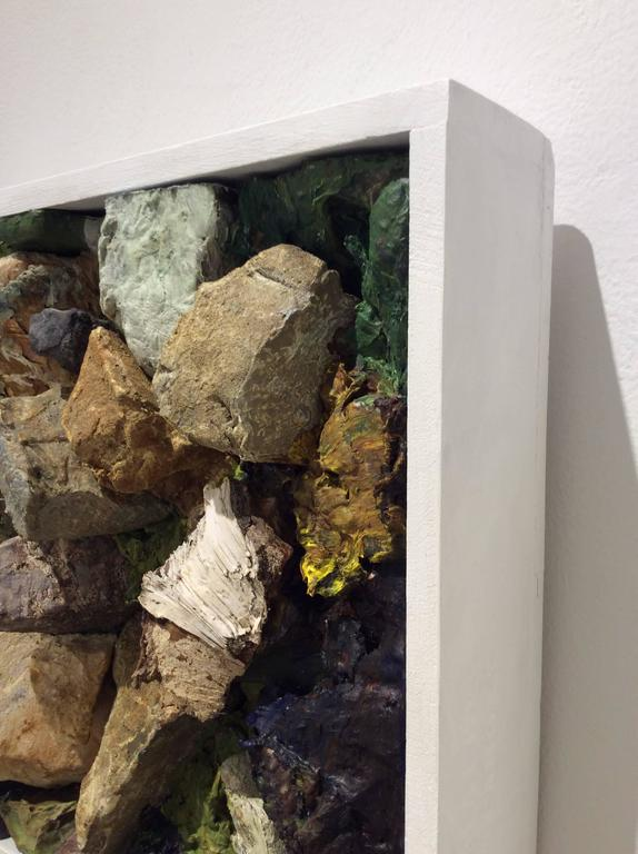 Field Notes (Modern, Abstract Rocky Earth Wall Sculpture in White Frame) For Sale 2