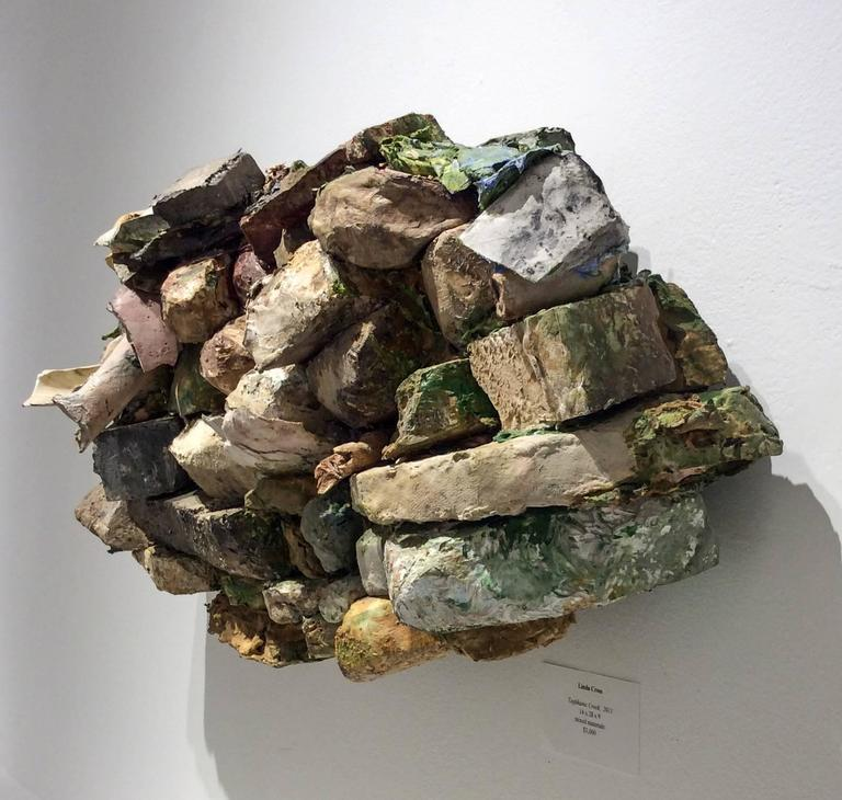 Taghkanic Creek (Contemporary, Abstract Earth & Rock 3D Wall Sculpture) - Brown Abstract Sculpture by Linda Cross