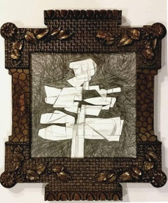 Infanta XVI (Modern, Abstract Cubist Style Drawing in Vintage Frame)