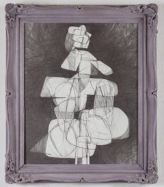 Totem Infanta XVII (Abstract Cubist Style Graphite Drawing in Vintage Frame)