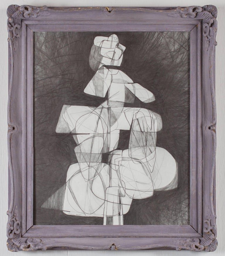 David Dew Bruner Abstract Drawing - Totem Infanta XVII (Abstract Cubist Style Graphite Drawing in Vintage Frame)