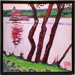 River Trees, Athens, Hudson Lighthouse (Fauvist-Style Hudson Valley Landscape)