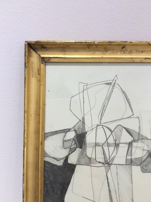 Balla Duchamps, Diptych: Italian Futurist Style Drawing in Antique Gold Frame For Sale 3