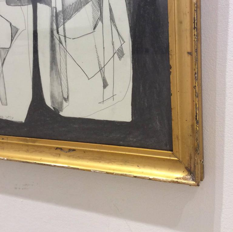 Balla Duchamps, Diptych: Italian Futurist Style Drawing in Antique Gold Frame For Sale 2