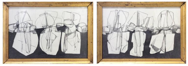 David Dew Bruner Abstract Drawing - Balla Duchamps, Diptych: Italian Futurist Style Drawing in Antique Gold Frame