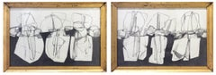 Balla Duchamp, Diptych: Black & White Abstract Drawing in Antique Gold Frames