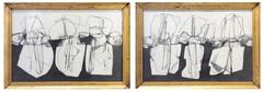 Balla Duchamps, Diptych: Italian Futurist Style Drawing in Antique Gold Frame