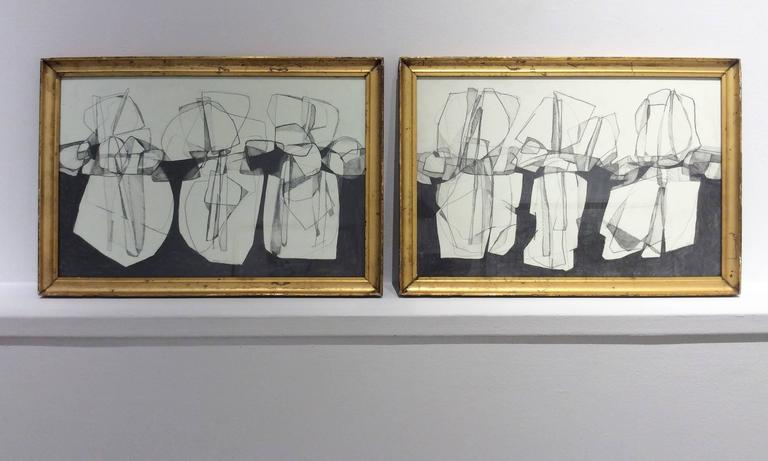Balla Duchamps, Diptych: Italian Futurist Style Drawing in Antique Gold Frame For Sale 1