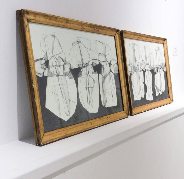 Balla Duchamps, Diptych: Italian Futurist Style Drawing in Antique Gold Frame For Sale 4