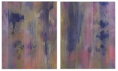 Pink Veils (Pair of Abstract Paintings on Paper with Metallic Powders)
