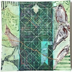 Birds and Geometry, No. 6 (Hanging Ceramic Tile with Abstract Bird Design)