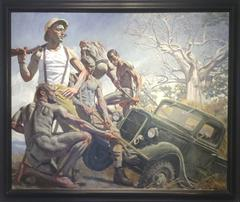 Unidentified Hunter Overseeing Removal of His Truck from the Mud (Oil Painting)
