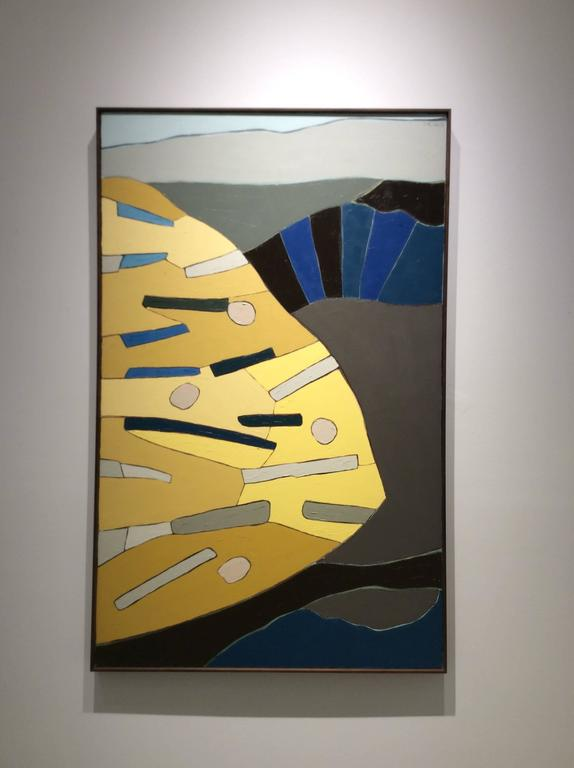 Something I Saw (Vertical Modern Abstract Painting in Blue, Grey, & Yellow) For Sale 1