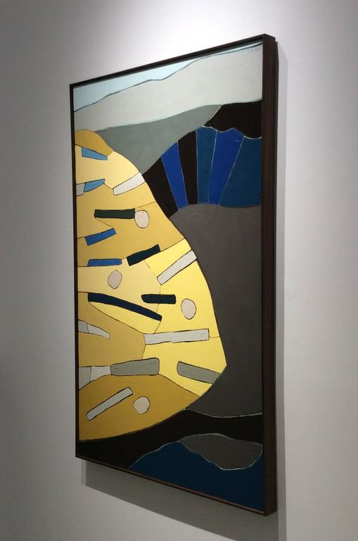 Something I Saw (Vertical Modern Abstract Painting in Blue, Grey, & Yellow) For Sale 3