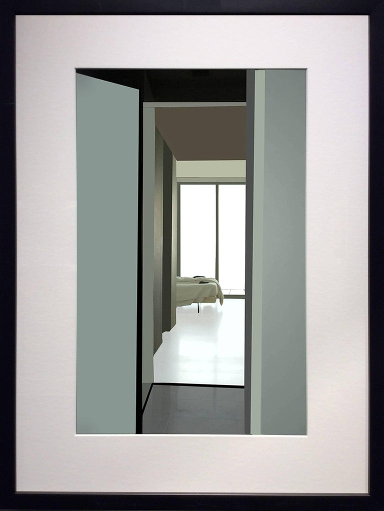 Bed: Contemporary Inkjet Print of Minimalist Interior in Muted Teal, Black Frame - Photograph by Stephanie Blumenthal
