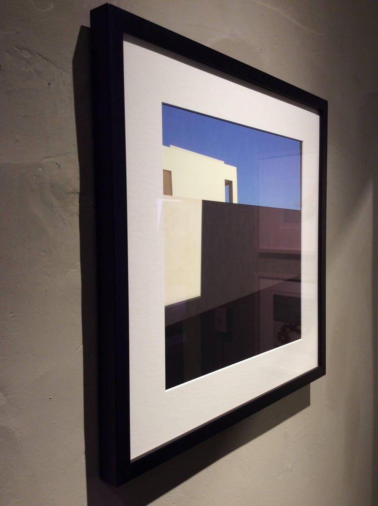 White Facade: Architectural Inkjet Print of White Minimalist Building & Blue Sky - Black Abstract Photograph by Stephanie Blumenthal