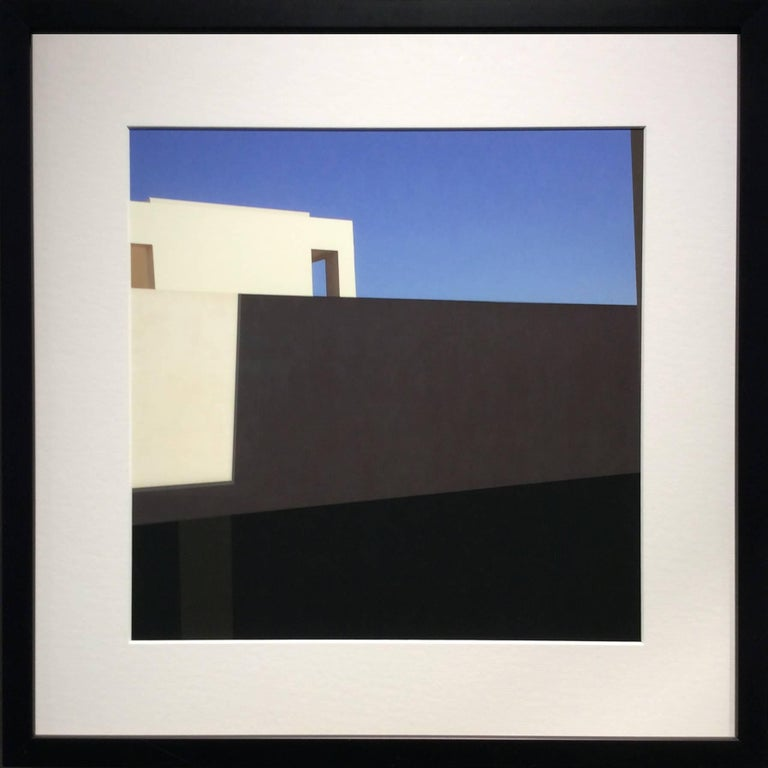 White Facade: Architectural Inkjet Print of White Minimalist Building & Blue Sky - Photograph by Stephanie Blumenthal